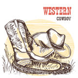 American cowboy boots and west hat. Stock Photo