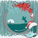 American cowboy Christmas background on wood textu Royalty Free Stock Images