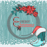 American cowboy Christmas background on wood Royalty Free Stock Photos