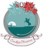 American cowboy Christmas card background with cow Royalty Free Stock Photos