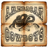 American cowboy on paper var 1. Vector illustration cowboy hat and crossed revolvers on old grunge paper. Lettering american cowboys Stock Images