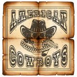 American cowboy on paper var 8. Vector illustration skull in hat and revolver on old grunge paper. Lettering american cowboys Stock Images