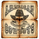 American cowboy on paper var 9. Vector illustration skull in hat and revolver on old grunge paper. Lettering american cowboys Royalty Free Stock Photography