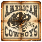 American cowboy on paper 2. Vector illustration cowboy hat and revolver on old grunge paper. Lettering american cowboys Stock Photography