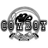 American cowboy revolvers var 2. Vector illustration cowboy hat and crossed revolvers. Lettering cowboy Stock Photo