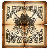 American cowboy rifles paper var 1. Vector illustration skull in hat, seriff star and crossed rifle on old grunge paper. Lettering amerikan cowboys Stock Images
