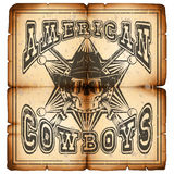 American cowboy rifles paper var 2. Vector illustration skull in hat, seriff star and crossed rifle on old grunge paper. Lettering amerikan cowboys Stock Images
