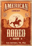 American cowboy rodeo poster. With typography and vintage paper texture Stock Photo