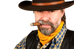 American cowboy smoking cigar Royalty Free Stock Photos