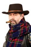 American cowboy smoking cigar Stock Image