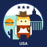 American Cowboy Vector Illustration Royalty Free Stock Images