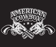 American cowboy. Vector vintage placard with hand drawn illustration. Poster made in wild west style with gun. Template for card, banner, print Royalty Free Stock Images