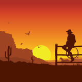 American Cowboy on wild west sunset landscape in the evening vector illustration