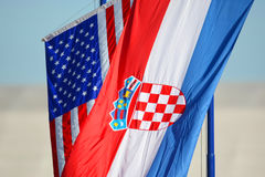 American and Croatian national flags waving Royalty Free Stock Images