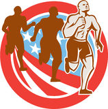 American Crossfit Runners USA Flag Circle Retro Stock Photo
