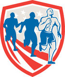 American Crossfit Runners USA Flag Retro. Illustration of an American crossfit marathon runners running facing front set inside shield with stars and stripes Stock Image