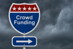 American Crowd Funding Highway Road Sign Stock Photos