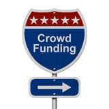 American Crowd Funding Highway Road Sign Royalty Free Stock Photography