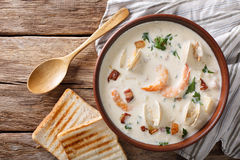 American cuisine: New England clam chowder soup closeup. horizon Stock Image