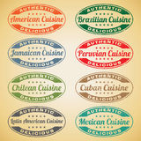 American Cuisine Stamps. Set of American cuisine stamps Royalty Free Stock Photos