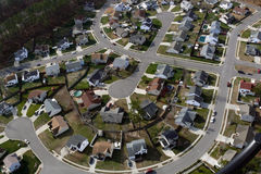 American Culdesac Aerial. Typical suburban culdesac in the mid atlantic region of the United States Royalty Free Stock Photo