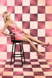 retro woman in pink dress 60s stock photo image 15688848. Black Bedroom Furniture Sets. Home Design Ideas