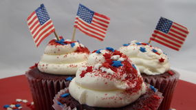 American cupcakes with flags Stock Photos