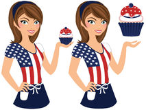 American cupcake girl. Woman wearing flag t-shirt and holding cupcake stock illustration