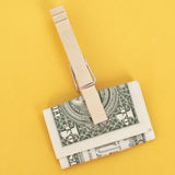 American Currency in a Clothespin Royalty Free Stock Photos