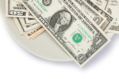 American currency on plate Stock Photo