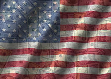 American currency with rippled flag Stock Image