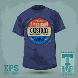 American custom motorcycle badge. Vintage Graphic T-shirt design - american custom motorcycle badge - Vector illustration - t-shirt print Stock Photo
