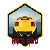 American customized muscle car a rear view. Effect fisheye vector illustration