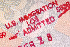 American Los Angeles customs immigration passport stamp Stock Image