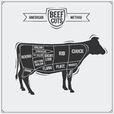 American cuts of beef. Vector illustration. Black and white Stock Image