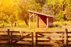 American dairy farm and barns in autumn season Stock Images