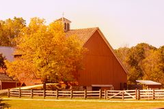 American dairy farm and barns in autumn season. In Illinois Stock Photos