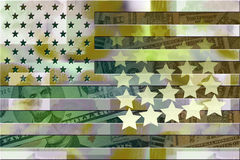 American Defense Funding. Military styled american flag with stars and pile of dollars on background Royalty Free Stock Photo