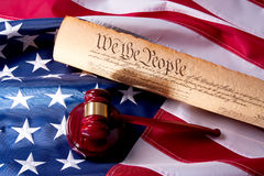 American Democracy. Usa Flag, Gavel  and US Constitution concept Stock Photo