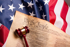 American Democracy. Usa Flag, Gavel  and US Constitution concept Royalty Free Stock Photos