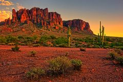 American Desert Sunset Stock Images