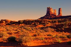 American desert sunset. Iconic American desert view at sunset near Monument Valley, USA Royalty Free Stock Photo