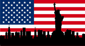 American Design with Statue of Liberty Flag. American Design with Statue of Liberty, Stars and Stripes Flag Royalty Free Stock Photos
