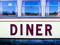 American Diner. Windows of a classic American diner restaurant royalty free stock image