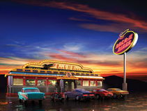American Diner. Retro American diner at dusk vector illustration