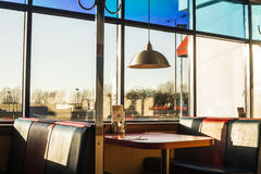 American diner interior at sundown Stock Photos