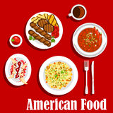 American dinner with grilled meat and chilli icon Stock Image