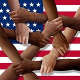 American Diversity Teamwork. As a group of diverse United States people holding arms as a multiracial society and multicultural community joined and united as a royalty free illustration