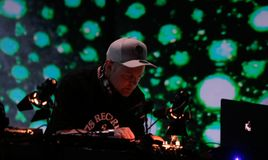DJ Shadow performing live at Sonar festival in barcelona stock photo