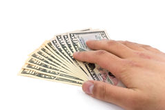American dollar banknote in the hand.  Stock Images
